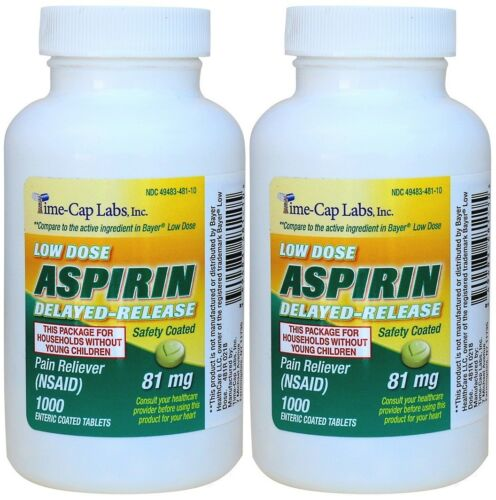 Enteric Coated Aspirin 81mg Generic for Bayer Low Dose aspirin 2000 Tablets
