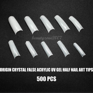Origin-Crystal-False-Acrylic-UV-Gel-Half-Nail-Art-Tips-x-500-PCS-No-0-10