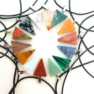 Holy Trinity Chakra Necklace Quartz Reiki Crystal Healing Point Cut Pendant UK