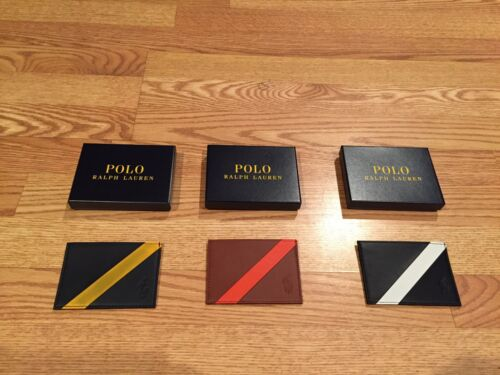 Polo Ralph Lauren striped big pony wallet id credit card holder case leather