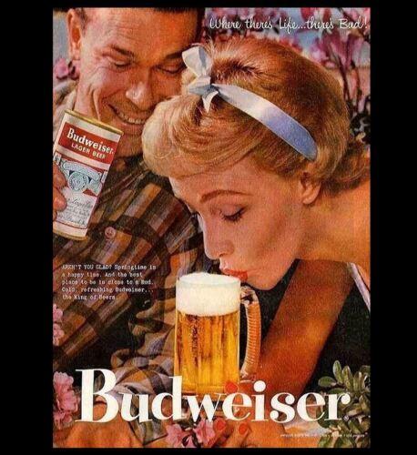 Bar Sign Vintage Advertisement King of Beers Budweiser Beer Ad Hot PHOTO