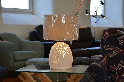 Dual Light Table Lamp Ceramic White Cut