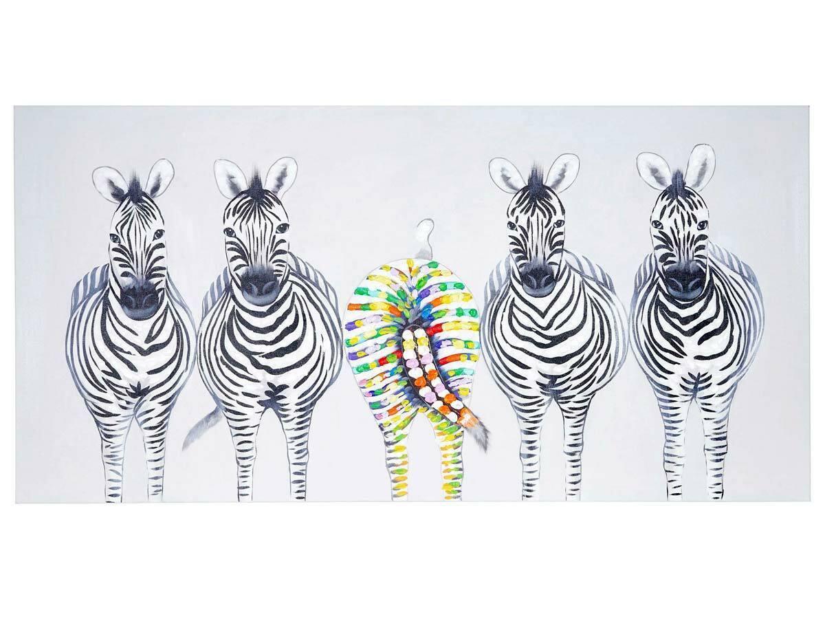 Wandbild Zebras II, 100% handgemaltes Ölgemälde Gemälde XL, 140x70cm