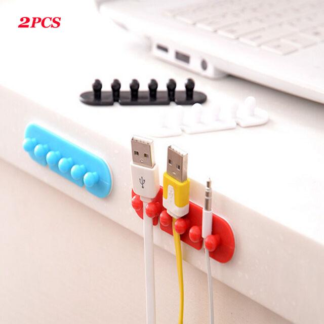 2PCS Wire Cord Clip Cable Line Holder Tie Fixer Organizer Drop Adhesive Clamp