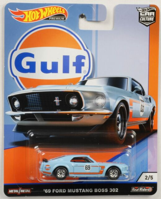 Gulf Mustang Boss 302 1969 1:64 Car Culture Real Riders Hot Wheels New FPY86