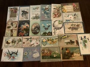 Pretty-Lot-of-25-Antique-Greetings-Postcards-with-BIRDS-Bird-in-sleeves-b334