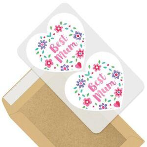 2 x Heart Stickers 10 cm - Best Mum Mother Mummy Flowers  #44275
