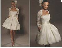 New Short White/ivory wedding dress Bridal Gown Stock size 6 8 10 12 14 16