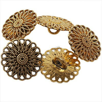 40pcs Vintage Golden Hollow Followers Alloy Buttons Fit Sew-on Clothes 161346
