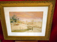 Antique Framed Watercolor Painting - Winter Town Landscape - Howell Wilson