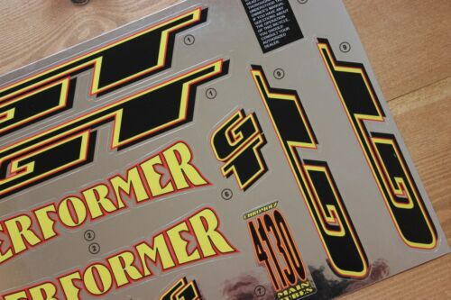 Reproduction 1995 GT Performer BMX Decal Set Chrome Backing