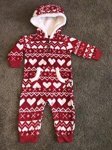 4da85567a Baby Girls Carter s 6 Months Red   White Heart Holiday Fleece ...