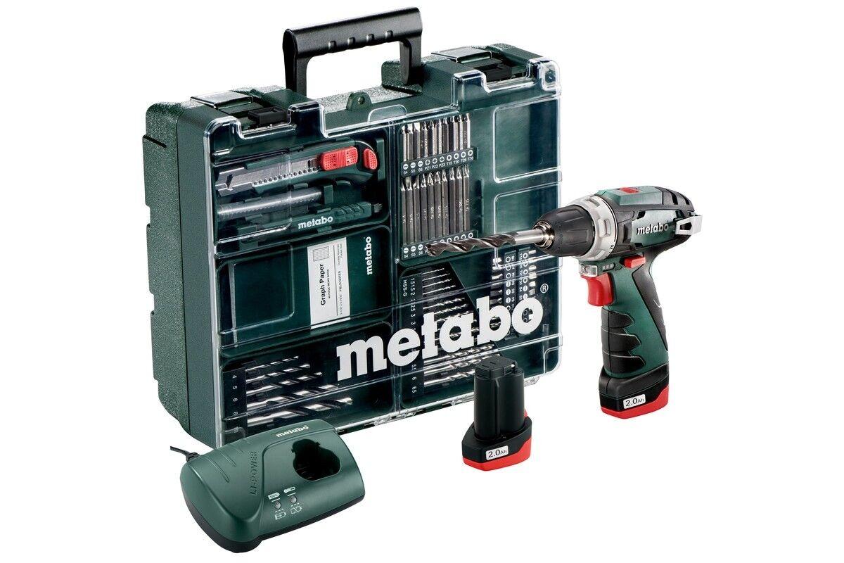 Metabo Akkuschrauber PowerMAXX BS Basic Set - Mobile Werkstatt - 2x 2,0AH Akku