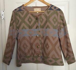 The-Territory-Ahead-Size-M-Women-039-s-100-Cotton-Jacket-Beige-Geometric-T77