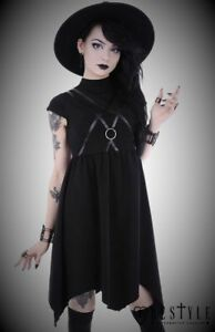 restyle asymmetric tunic black witch dress for gothic punk