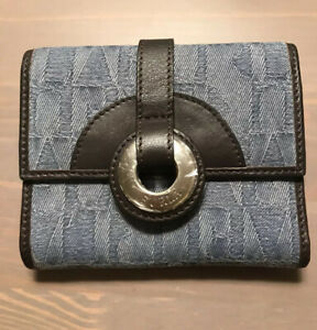 Furla-Bifold-Small-Wallet-Genuine-Leather-And-Jeans-New-Vintage