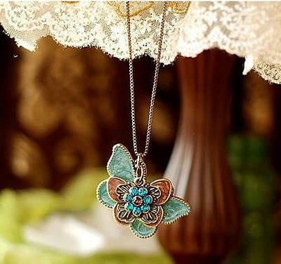 Fashion Women Jewelry Vintage Butterfly Lovers Crystal Enamel Pendant Necklace