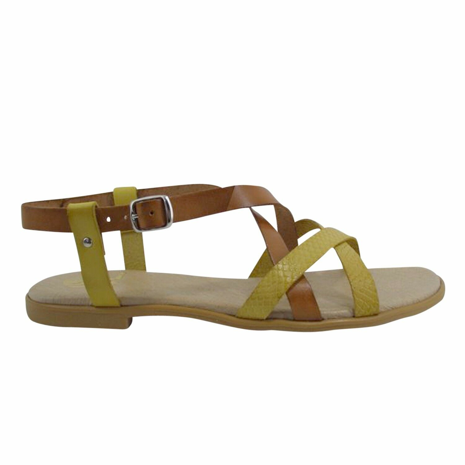 Größe 11 9) (EU 43 / UK 9) 11 Braun & Yellow Strappy Flat Sandales Made in Spain 0347dc