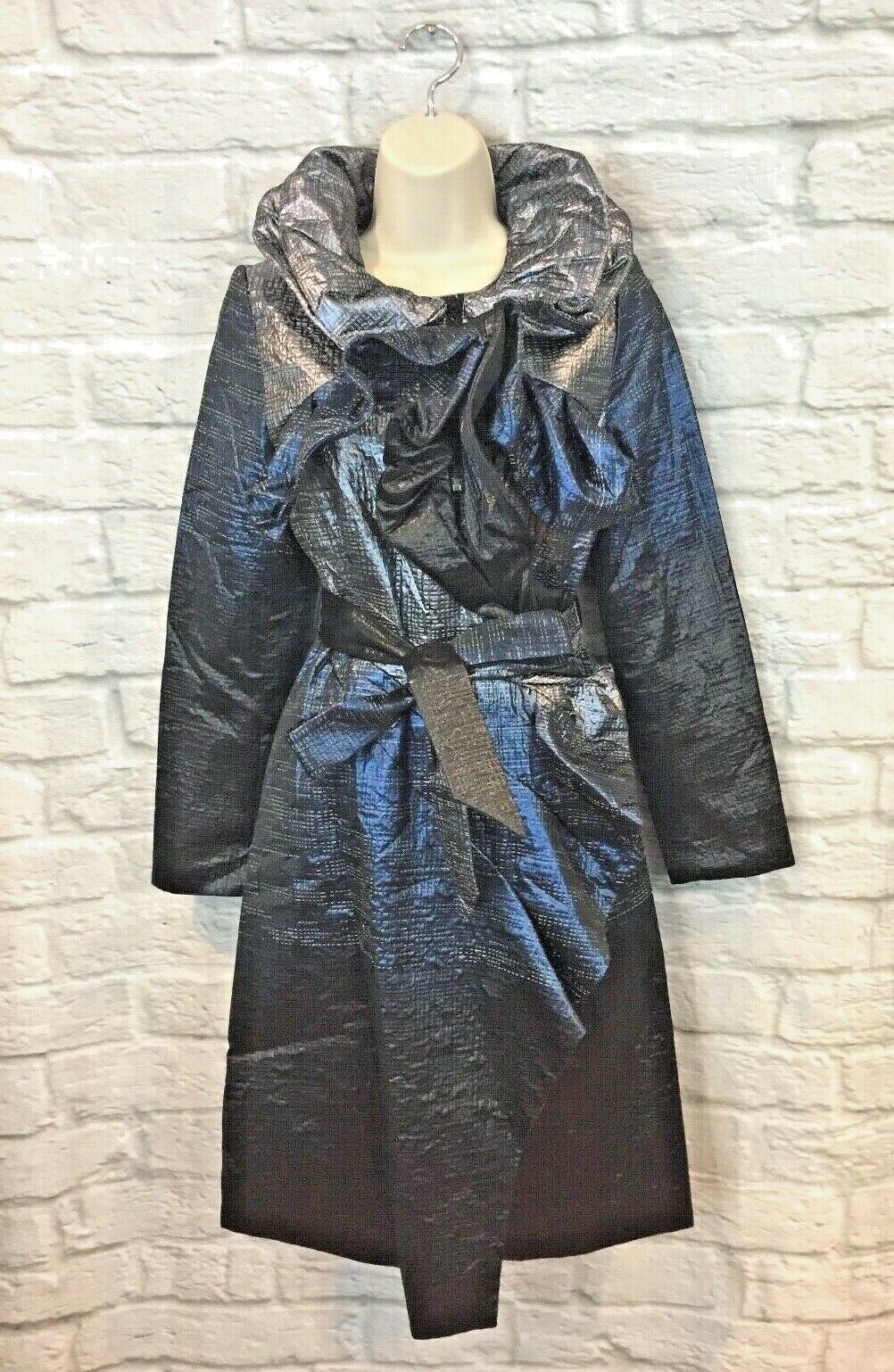 Samuel Dong Women's Midnight bluee Metallic Framing Collar Trench Coat Size XS