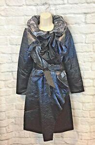 Samuel-Dong-Women-039-s-Midnight-Blue-Metallic-Framing-Collar-Trench-Coat-Size-XS