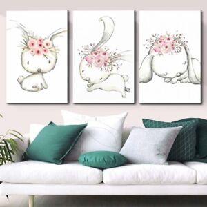 Image Is Loading Baby Room Cartoon Animal Wall Canvas Painting Rabbit