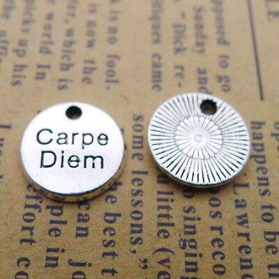 12 Carpe Diem charms silver tone M369