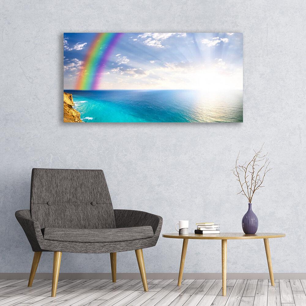 Photo sur toile Tableau Image Impression 120x60 Paysage Arc En Ciel Mer