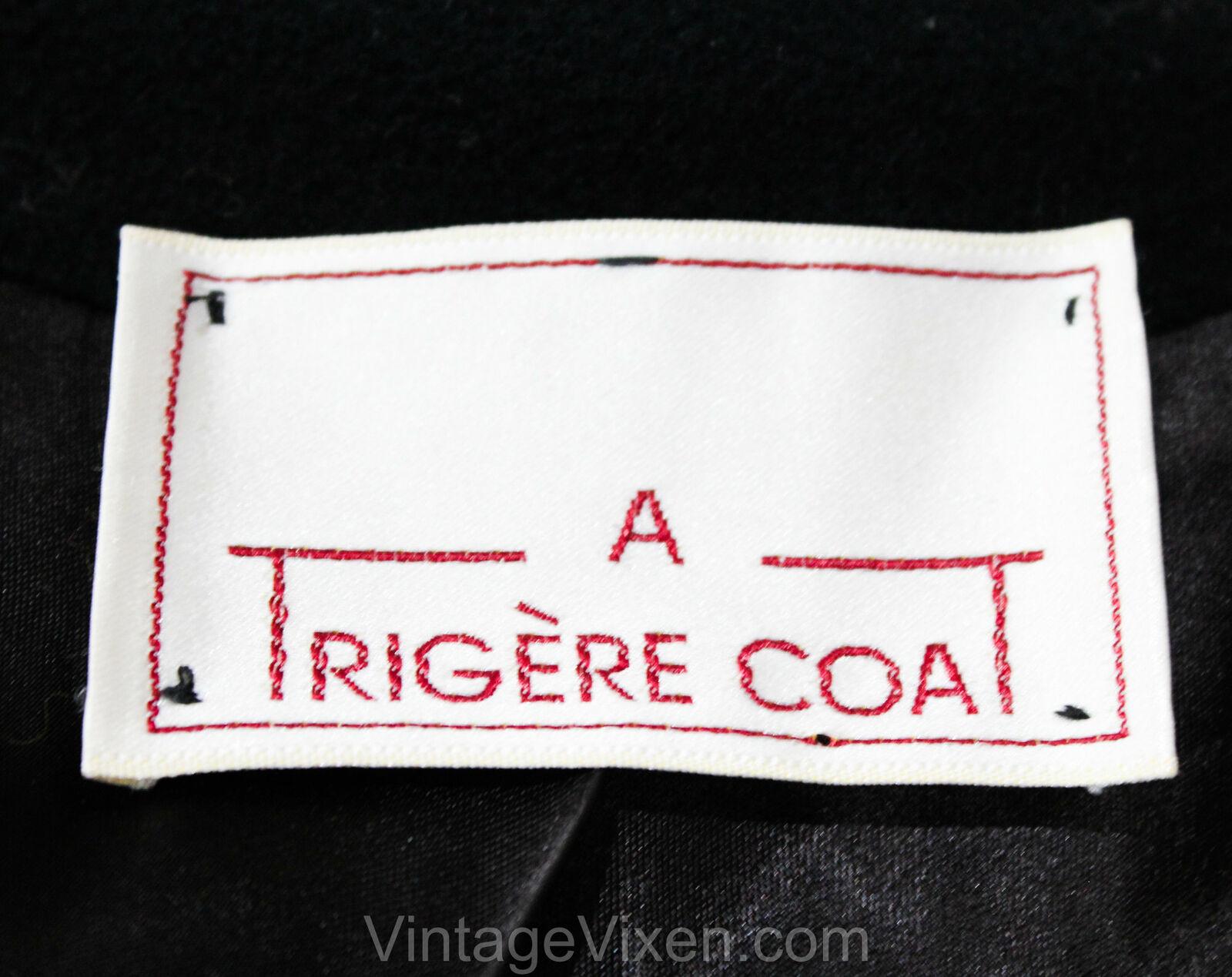 Size 10 Black Winter Coat - Designer 80s Overcoat… - image 6