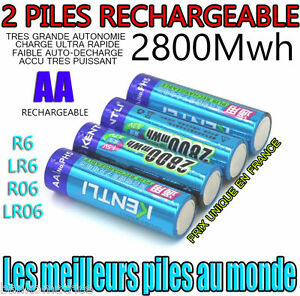 2 piles accus rechargeable aa 2800mwh lithium li ion 1 5v - Pile aa rechargeable ...