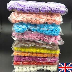 144pcs-Artificial-Flowers-Mini-Foam-Roses-with-stem-Wedding-Bouquet-Decor-UK