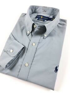 Ralph-LAUREN-MEN-039-S-camicia-grigia-Performance-POPELINE-STRETCH-CLASSIC-FIT