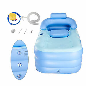inflatable adult pvc folding portable blow up bathtub bath tub air pump spa ebay. Black Bedroom Furniture Sets. Home Design Ideas