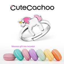 Children's kids sterling silver, pink unicorn ring + mini macaron gift box!