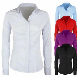 Camicia-Donna-Slim-Fit-Manica-Lunga-Aderente-Camicetta-Cotone-Casual-Vari-Colori