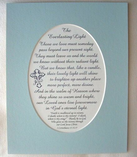 EVERLASTING LIGHT Sympathy DEATH Loss BIBLE Heaven VICTORY verses poems plaques