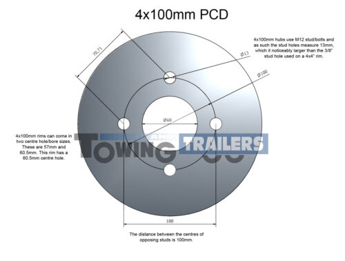"""5.20//5.00-10 10/"""" 4x100mm PCD 6 Ply Trailer Wheel and Tyre"""