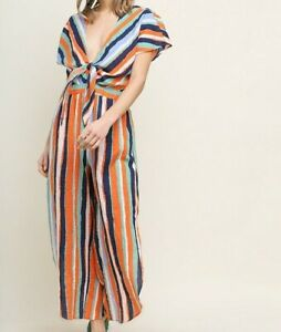 New-Bluheaven-By-Umgee-Jumpsuit-M-Medium-Serape-Stripe-Wide-Leg-Pant-Crop