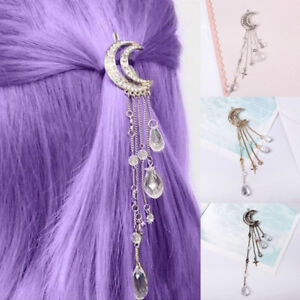 HO-BU-Moon-Rhinestone-Tassel-Beads-Dangle-Hairpin-Hair-Clip-Women-Jewelry-Nove