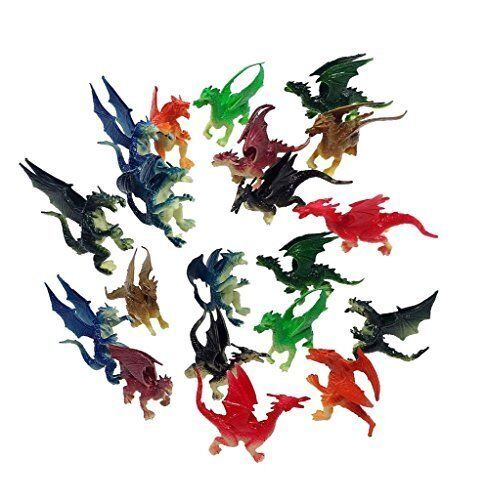 """3/"""" Plastic Fire Breathing Mini Dragons 2.5/"""" 20 Pieces"""