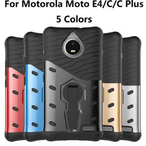 5-Colors-For-Motorola-Moto-E4-C-C-Plus-Shockproof-Kickstand-Cover-Case-TPU-PC