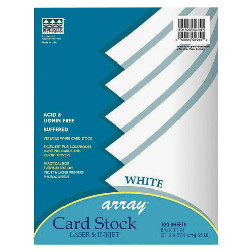 White 8-1//2 x 11 Inches Array Card Stock Paper Pack of 100