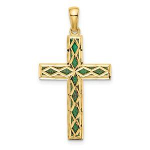 14K-Green-Enamel-Reversible-Cross-Pendant-New-Charm-Yellow-Gold