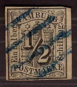 1859-Hamburg-1-2-Schilling-Imerforated-Used-Cat-600