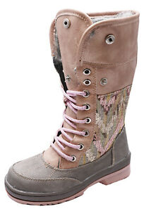 GIRLS-KIDS-CHILDRENS-LACE-UP-PINK-SNOW-WARM-WINTER-CALF-BOOTS-SHOES-SIZES-11-1