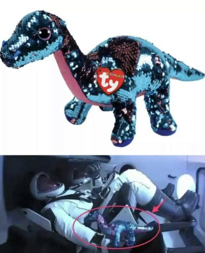 """TY FLIPPABLES TREMOR 13"""" Dinosaur Sequin NASA SpaceX NWT *SHIPS TODAY*"""
