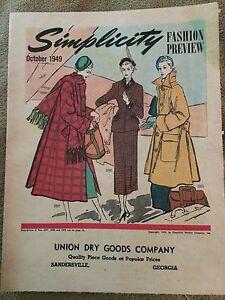 Oct 1949 Simplicity Fashion Preview - Union Dry Goods Company Sandersville, GA
