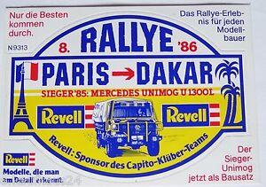 Fan-Aufkleber Mercedes Benz Unimog Rally Paris Dakar 1986 Revell Capito Klüber