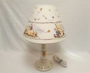 """Vintage Winnie the Pooh & Piglet Wood Lamp Light 15"""" - Excellent Cond.& Working"""