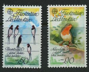 Birds-Swallows-Robin-2-mnh-stamps-1986-Liechtenstein-829-30-Nature-Conservation