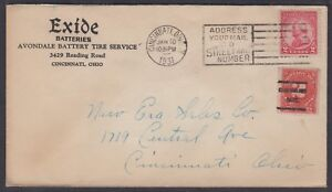 1931-Exide-Batteries-Advertising-Cover-postage-due-Cincinnati-OH-precancel-689